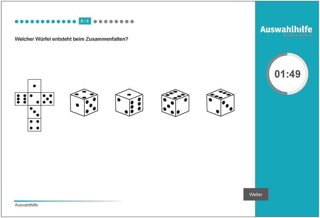 Beispielaufgabe Form- und Raumgefühl Auswahlhilfe online Azubitest i-kiu ibw