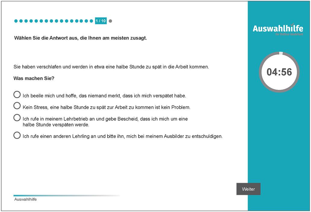 Beispielaufgabe Grundsätzliche Einstellung zur Lehrausbildung Auswahlhilfe online Azubitest i-kiu ibw