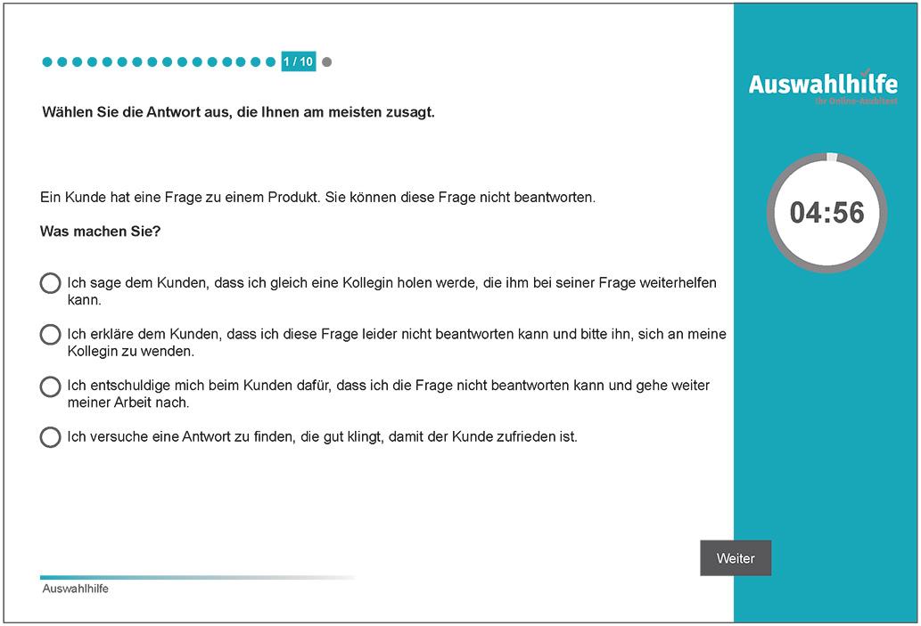 Beispielaufgabe Kundenorientierung Auswahlhilfe online Azubitest i-kiu ibw