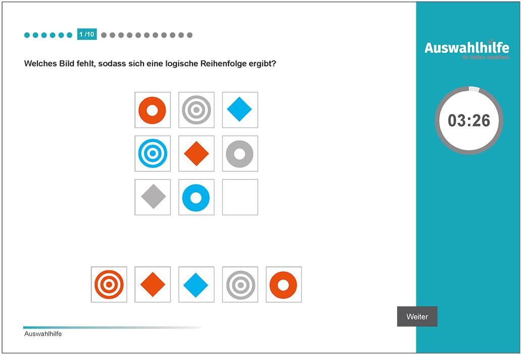 Beispielaufgabe Logisches Denken Auswahlhilfe online Azubitest i-kiu ibw