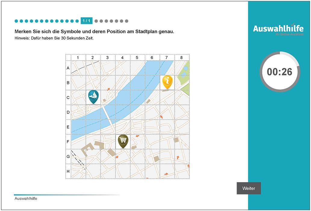 Beispielaufgabe Merkfähigkeit Auswahlhilfe online Azubitest i-kiu ibw