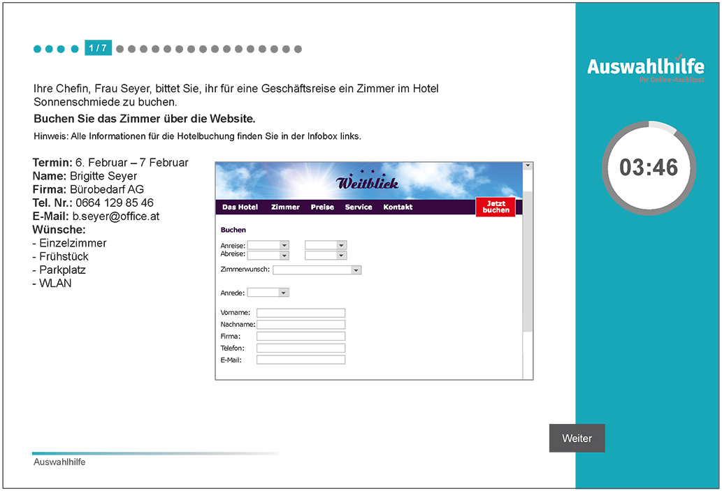 Beispielaufgabe Organisationstalent Auswahlhilfe online Azubitest i-kiu ibw