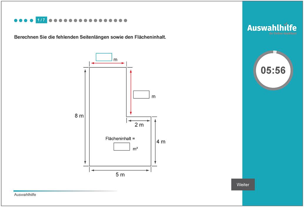 Beispielaufgabe Rechnen Auswahlhilfe online Azubitest i-kiu ibw
