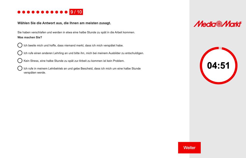 Media Markt Saturn Auswahlhilfe Online-Azubitest Referenz